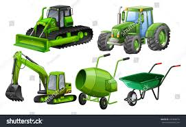 Flashcard Green Color Theme Construction Machines Stock Vector ...