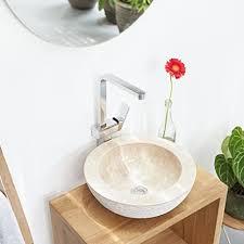 wohnfreuden marmor waschbecken 40 cm rund innen poliert