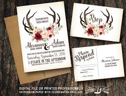 Rustic Wedding Invitation SET Deer Antler Horns Marsala Red