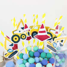 Construction Trucks Straw 20PCS Paper Straws Birthday Party Festive ... Birthday Cstruction Themed Party With Free Printables  Noted Trucks Pictures Amazon Com 12340 Watsons Cstruction Truck Birthday Party Holy City Chic Truck Dessert Cake Plates Napkins And Cups Home Ideas Invitations Monster Fire Envelopes First Themed Invites Items Similar To Augustines 2nd M Loves Stay At Homeista Boys Name Age Poster Crane