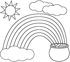 Rainbow Coloring Page Kids Dream Of Rainbows With Pots Gold At The End