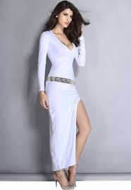 white long sleeve plunge maxi dress with slit from dear lover