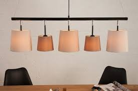 design hängeleuchte levels 100cm braun beige leinenschirme