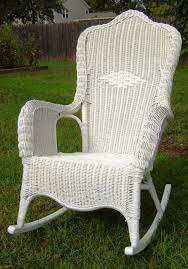 outdoor vintage wicker rocking chair with green color chairs