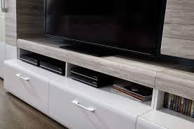 wohnwand wohnzimmer set spirit 5 tlg vitrine hängevitrine wandboard tv regal weiß sandeiche led beleuchtung