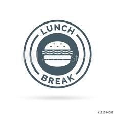 Fastfood Lunch Break Badge Sign With A Cheeseburger Meal Icon Silhouette Vector Illustration
