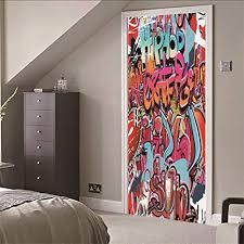 leoljc türtapete türposter selbstklebend graffiti 3d türaufkleber türfolie pvc wasserdicht ölfest tapete fototapete für tür wohnzimmer schlafzimmer