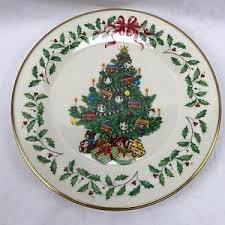 Image Is Loading Lenox Christmas Tree Plate Ivory Gold Trim Nabisco