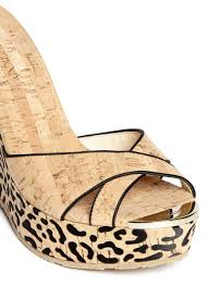 jimmy choo u0027perfume u0027 leopard cork platform wedge sandals in