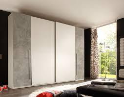 schwebetürenschrank match2 kleiderschrank schrank schlafzimmerschrank 270 x 225 cm weiß mit absetzung grau beton