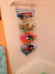 Tub Toy Organization 5 Rubber Coated Baskets From Below Metal Shower Curtain Hooks