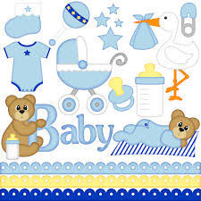 Baby Boy digital clipart set consists of 14 separate images PNG