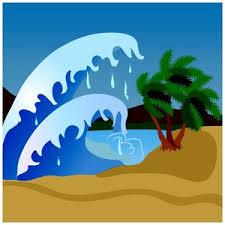 Tidal Wave Clipart Image Tsunami Hits a Tropical Island