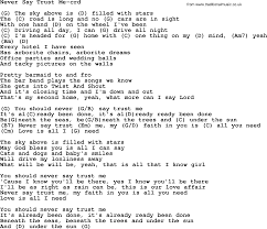 Never Say Trust Me by Gordon Lightfoot lyrics and chords