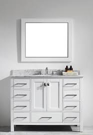 Transitional 48 inch White Bathroom Vanity with White Carrera