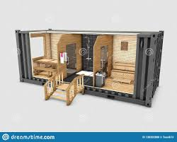 100 Shipping Containers Converted Old Container Into Sauna 3d Illustration