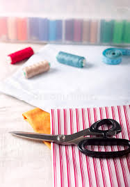 Sewing Supplies Scissors Thread Fabric Stock Image Image