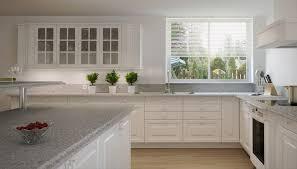 white kitchen cabinets with grey quartz countertops Google