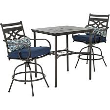 Montclair 3pc High Dining: 2 Swivel Chairs, 33
