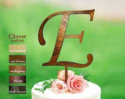 E Letter Cake Topper Wedding Initial Rustic