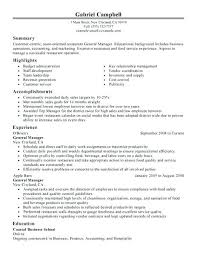 General Manager Resume Template For Restaurant