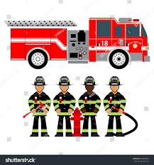 100 Fire Truck Red Man Uniform Fighters Stock Vector