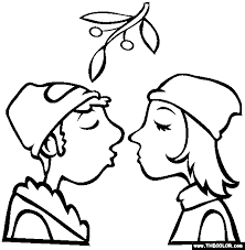 Kissing Under The Mistletoe Christmas Coloring