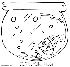 Fish Tank And Cute Coloring Page
