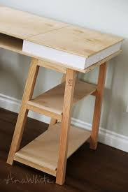 Diy Simple Wooden Desk by Ana White Sawhorse Storage Leg Desk Diy Projects