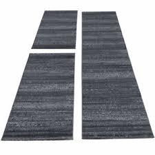 details zu teppich bettumrandung kurzflor set teppiche einfarbig läufer set 3 teilig grau