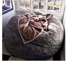 Home Accessory Bean Bag Grey Fluffy Chair Comfy