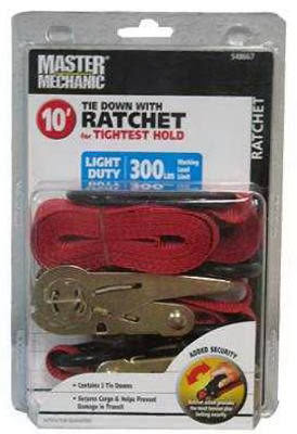 "Boxer Tools Ratchet Tie Downs - Red, 1"" x 10"""