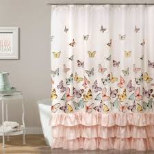 Pink Ruffled Window Curtains by Buy Ruffle Shower Curtain From Bed Bath U0026 Beyond