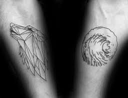 Geometric Wolf Tattoo A Water Wave And Face Idea