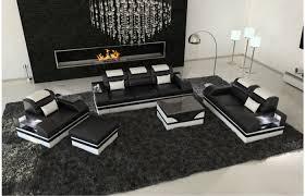 design leder couchgarnitur parma mit led beleuchtung
