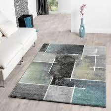 details zu wohnzimmerteppich in grau türkis grün anthrazit meliert karo kurzflor teppiche