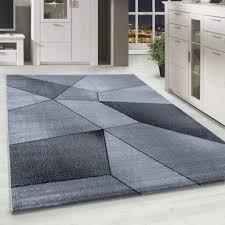 kurzflor designer teppich abstrakt gemustert wohnzimmerteppich grau weiß meliert