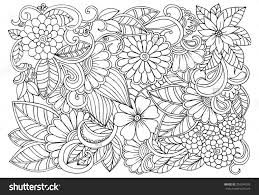 Coloring Pages Of Flower Designs With Doodle Floral Pattern In Black And