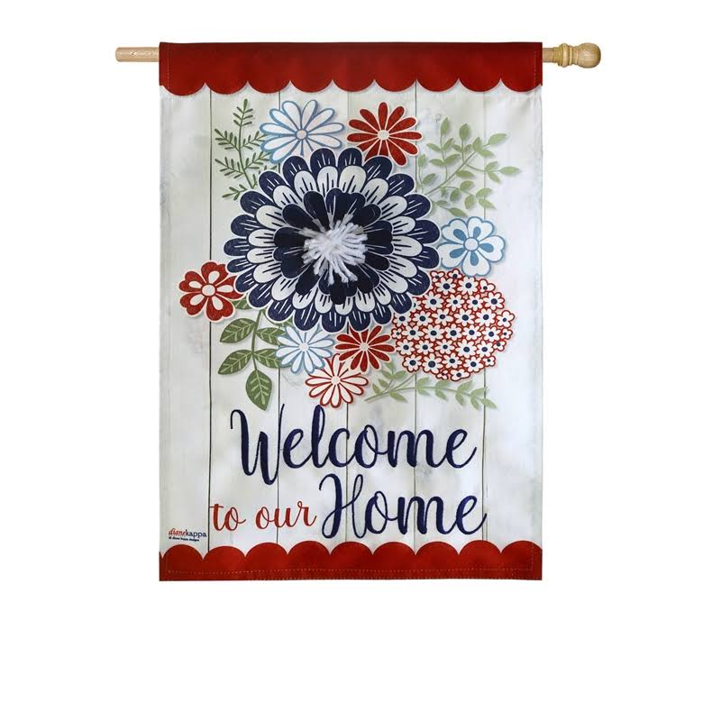 Evergreen Americana Floral House Linen Flag