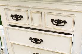 Old Wooden Antique Chest Of Drawers With Metal Handles Closeup Open Drawer Shelf Shabby
