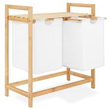 navaris ausziehwäschekorb wäschesortierer zweiteilig aus bambus wäschesammler baumwollsack inkl ablage doppel wäschekorb trennen und sortieren