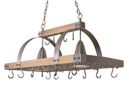 designs pr1001 wod 2 light kitchen wood pot rack with