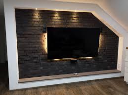 klinkerriemchen graphit steinwand wohnzimmer