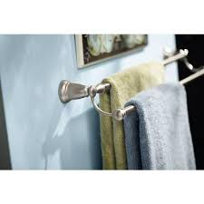 Moen Banbury Bathroom Faucet Brushed Nickel by Moen Banbury 24 In Double Towel Bar In Spot Resist Brushed Nickel