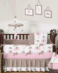 Pink and Taupe Modern Elephant Crib Bedding 9 pc Set by Sweet Jojo
