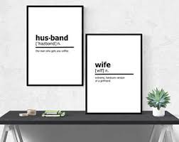 Husband Wife Funny Urban Dictionary Definition Print SET Home Art Printable Digital