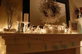 Decorations Warm Christmas Fireplace Decor Feature Lighted Garland With Mason Jar Handcraft Ornament And White