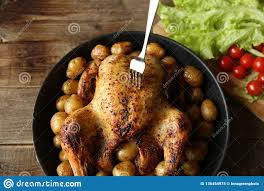 100 Golden Crust Grilled Chicken With A And Potatoes In A Frying