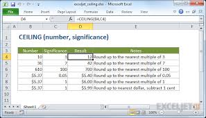 how to use the excel ceiling function exceljet