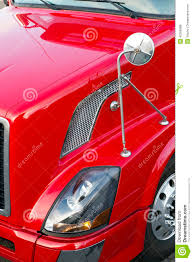 100 Semi Truck Mirrors Red Hood Head Lightmirror And Wheel Stock Photo Image
